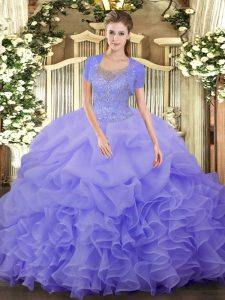 Lavender Scoop Clasp Handle Beading and Ruffled Layers Quinceanera Dress Sleeveless