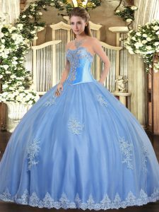 Sweetheart Sleeveless Vestidos de Quinceanera Floor Length Beading and Appliques Baby Blue Tulle