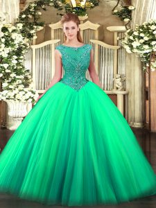 Floor Length Zipper Sweet 16 Quinceanera Dress Turquoise for Sweet 16 and Quinceanera with Beading