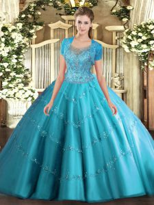 Modern Aqua Blue Tulle Clasp Handle 15 Quinceanera Dress Sleeveless Floor Length Beading and Appliques