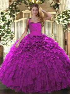 Ruffles Quinceanera Gown Fuchsia Lace Up Sleeveless Floor Length