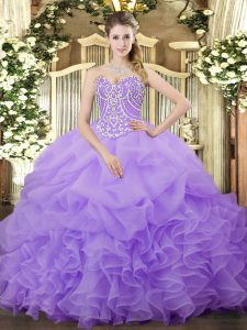 Lilac Ball Gowns Organza Sweetheart Sleeveless Beading and Ruffles and Pick Ups Floor Length Lace Up 15 Quinceanera Dress