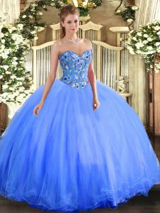 Embroidery Quince Ball Gowns Blue Lace Up Sleeveless Floor Length