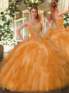 Beading and Ruffles Quinceanera Gowns Orange Lace Up Sleeveless