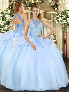 Lovely Light Blue Halter Top Neckline Beading Vestidos de Quinceanera Sleeveless Lace Up