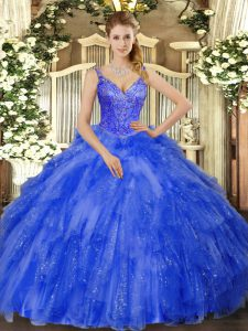 Beautiful Floor Length Royal Blue 15th Birthday Dress Tulle Sleeveless Beading and Ruffles