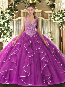 Sleeveless Tulle Floor Length Lace Up 15th Birthday Dress in Fuchsia with Beading
