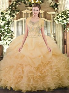 Exquisite Champagne Clasp Handle Scoop Beading and Ruffled Layers Sweet 16 Dresses Tulle Sleeveless