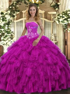 Wonderful Fuchsia Sleeveless Floor Length Beading and Ruffles Lace Up Vestidos de Quinceanera
