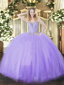 Dramatic Floor Length Lace Up Sweet 16 Quinceanera Dress Lavender for Military Ball and Sweet 16 and Quinceanera with Beading