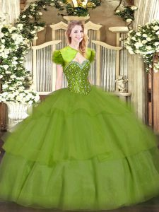 Hot Sale Olive Green Ball Gowns Beading and Ruffled Layers 15th Birthday Dress Lace Up Tulle Sleeveless Floor Length