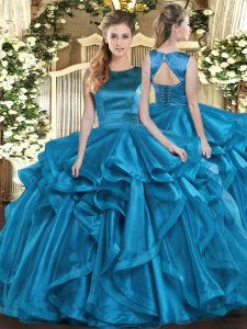 Romantic Teal Ball Gowns Ruffles Quince Ball Gowns Lace Up Organza Sleeveless Floor Length