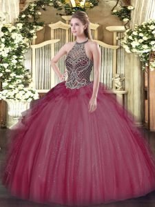 Floor Length Lace Up Quinceanera Dress Burgundy for Sweet 16 and Quinceanera with Beading
