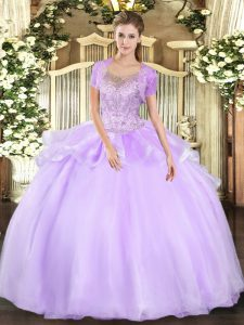 Beading and Ruffles 15 Quinceanera Dress Lavender Clasp Handle Sleeveless Floor Length