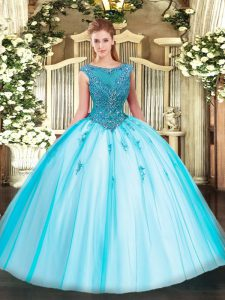 Stunning Scoop Cap Sleeves Zipper Quinceanera Dress Aqua Blue Tulle
