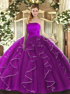 Dazzling Sleeveless Ruffles Lace Up Ball Gown Prom Dress
