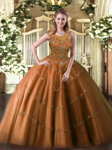 Tulle Scoop Sleeveless Zipper Beading and Appliques Quinceanera Gown in Rust Red