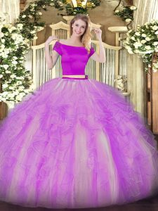 Superior Two Pieces Quinceanera Dress Lilac Off The Shoulder Tulle Short Sleeves Floor Length Zipper