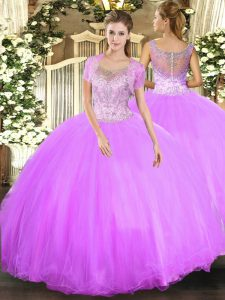 Customized Floor Length Ball Gowns Sleeveless Lilac Quinceanera Gown Clasp Handle