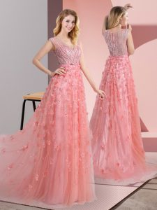 Glamorous Zipper Evening Dress Pink for Prom and Party with Beading and Appliques Sweep Train