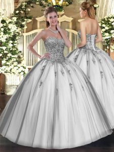 Floor Length Grey Sweet 16 Quinceanera Dress Tulle Sleeveless Beading and Appliques