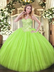Floor Length Lace Up Quinceanera Gown Yellow Green for Sweet 16 and Quinceanera with Appliques