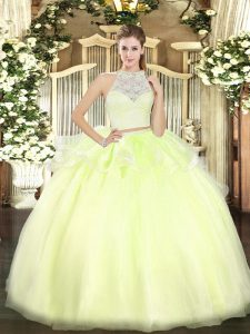 Best Floor Length Zipper Quinceanera Gown Yellow Green for Military Ball and Sweet 16 and Quinceanera with Lace