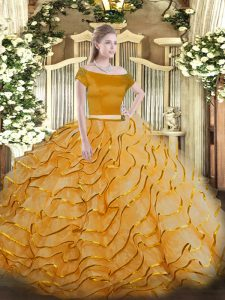 On Sale Orange Two Pieces Appliques and Ruffled Layers Sweet 16 Dresses Zipper Tulle Short Sleeves