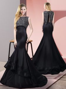 Low Price Floor Length Zipper Black for Prom and Party with Beading Sweep Train