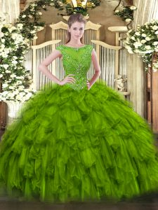 Nice Floor Length Ball Gowns Sleeveless Olive Green Quinceanera Dress Zipper