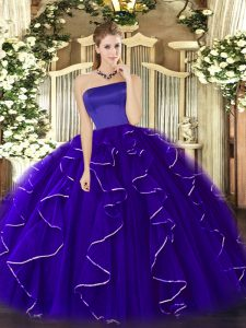 Tulle Strapless Sleeveless Zipper Ruffles Sweet 16 Quinceanera Dress in Blue
