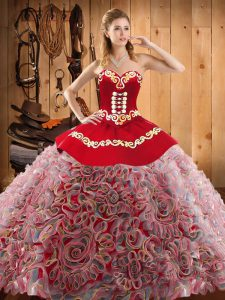 Adorable Sweetheart Sleeveless Satin and Fabric With Rolling Flowers Quinceanera Gown Embroidery Sweep Train Lace Up