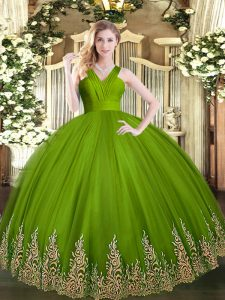 Graceful Olive Green Zipper V-neck Appliques Quinceanera Dress Tulle Sleeveless