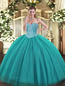 Suitable Beading Sweet 16 Quinceanera Dress Turquoise Lace Up Sleeveless Floor Length