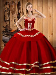 Wine Red Ball Gown Prom Dress Military Ball and Sweet 16 and Quinceanera with Embroidery Sweetheart Sleeveless Lace Up