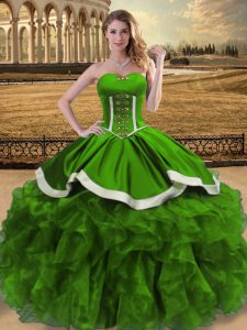 Nice Sweetheart Sleeveless Lace Up Ball Gown Prom Dress Green Organza
