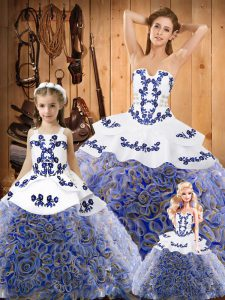 Stunning Multi-color Strapless Neckline Embroidery Quinceanera Gowns Sleeveless Lace Up