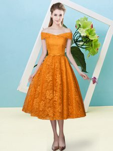 Orange Red Off The Shoulder Neckline Bowknot Court Dresses for Sweet 16 Cap Sleeves Lace Up