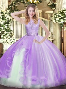 Perfect Sleeveless Organza Floor Length Backless Quince Ball Gowns in Lavender with Lace and Ruffles