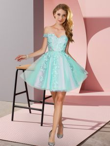 Popular Apple Green A-line Off The Shoulder Sleeveless Tulle Mini Length Zipper Appliques Dama Dress
