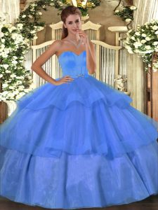 Inexpensive Baby Blue Sleeveless Organza Lace Up Quinceanera Gowns for Military Ball and Sweet 16 and Quinceanera