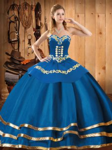 Fancy Blue Sleeveless Floor Length Embroidery Lace Up Quinceanera Dresses