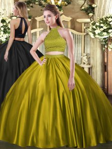 Glorious Floor Length Yellow Green Quinceanera Gown Halter Top Sleeveless Backless