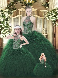 Stylish Floor Length Ball Gowns Sleeveless Dark Green Quinceanera Dress Lace Up