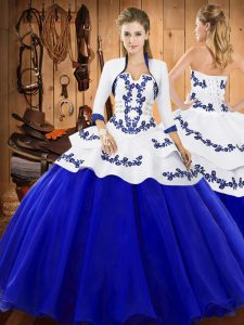 High Quality Royal Blue Strapless Lace Up Embroidery Quinceanera Dress Sleeveless