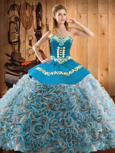 Satin and Fabric With Rolling Flowers Sleeveless With Train Quinceanera Gowns Sweep Train and Embroidery