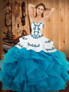 Teal Ball Gowns Satin and Organza Strapless Sleeveless Embroidery and Ruffles Floor Length Lace Up Sweet 16 Quinceanera Dress