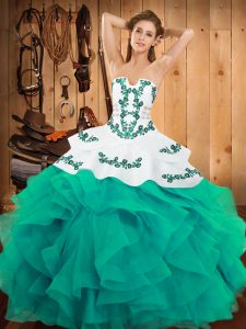 Turquoise Ball Gowns Embroidery and Ruffles Vestidos de Quinceanera Lace Up Satin and Organza Sleeveless Floor Length