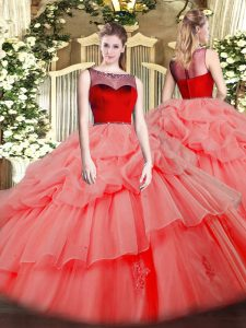 Sleeveless Organza Floor Length Zipper Vestidos de Quinceanera in Watermelon Red with Beading and Appliques