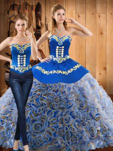 Top Selling Multi-color Sleeveless Satin and Fabric With Rolling Flowers Sweep Train Lace Up Quinceanera Dress for Military Ball and Sweet 16 and Quinceanera